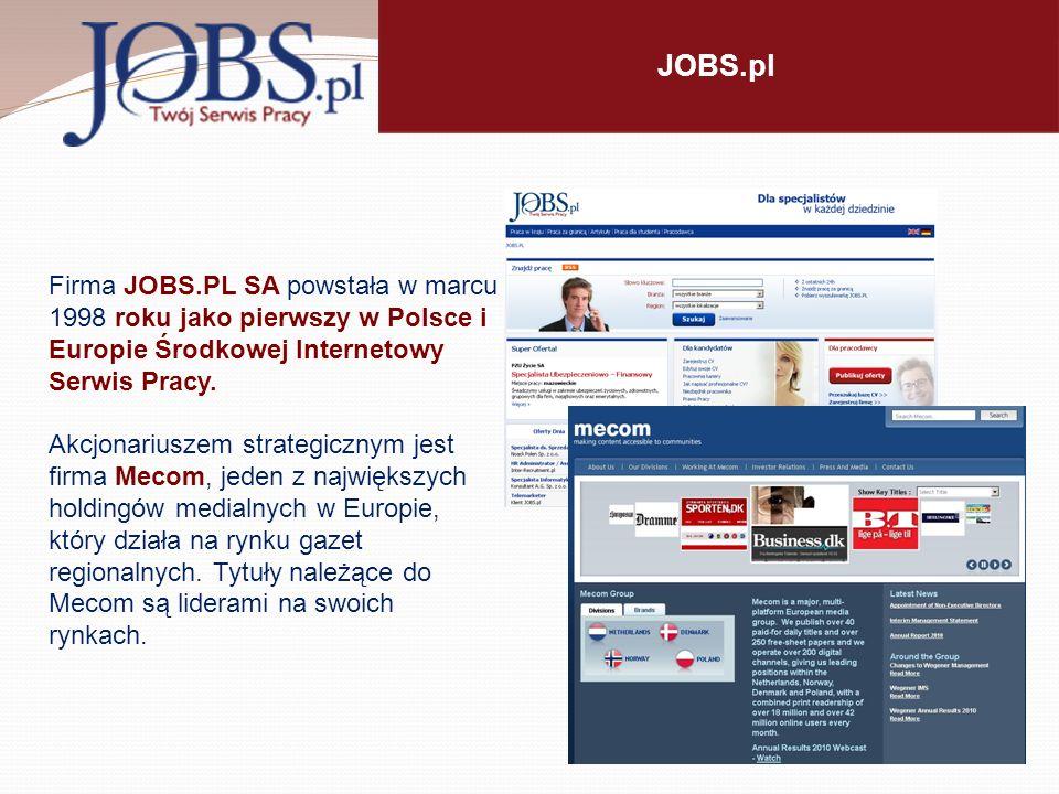 JOBS.pl Firma JOBS.PL SA powstała w marcu 1998 roku jako pierwszy w Polsce i Europie Środkowej Internetowy Serwis Pracy.