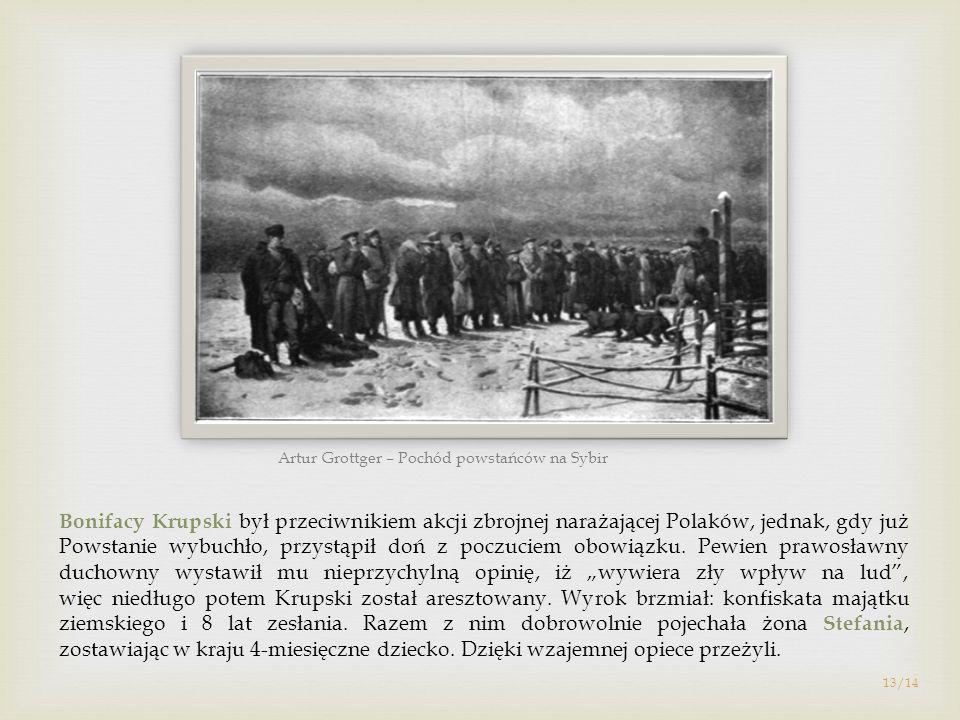 Bonifacy Krupski był przeciwnikiem akcji zbrojnej narażającej Polaków, jednak, gdy już Powstanie wybuchło, przystąpił doń z poczuciem obowiązku. Pewie
