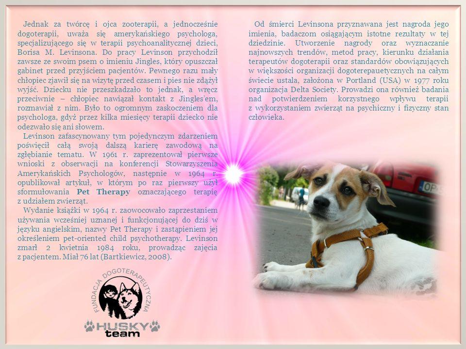 ROZWÓJ DOGOTERAPII W POLSCE Polska historia dogoterapii rozpoczyna się w 1987r., gdy Maria Czerwińska, treserka, przygotowywała dwa psy i gęś do udziału w filmie Widzę.
