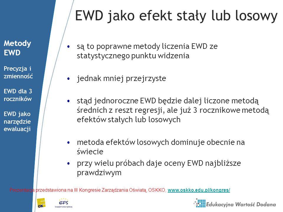 EWD jako efekt stały lub losowy są to poprawne metody liczenia EWD ze statystycznego punktu widzenia jednak mniej przejrzyste stąd jednoroczne EWD będ