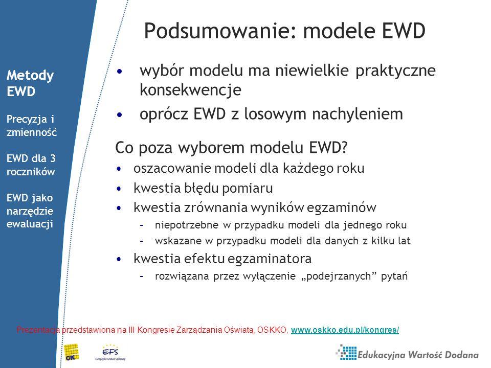 Podsumowanie: modele EWD wybór modelu ma niewielkie praktyczne konsekwencje oprócz EWD z losowym nachyleniem Co poza wyborem modelu EWD? oszacowanie m