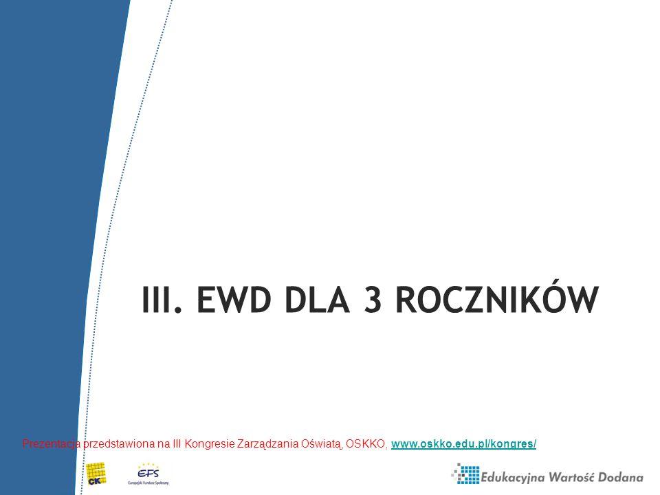 III. EWD DLA 3 ROCZNIKÓW Prezentacja przedstawiona na III Kongresie Zarządzania Oświatą, OSKKO, www.oskko.edu.pl/kongres/www.oskko.edu.pl/kongres/