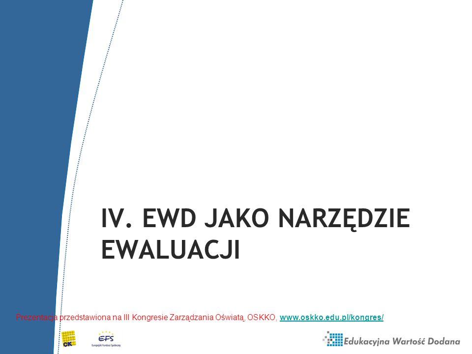 IV. EWD JAKO NARZĘDZIE EWALUACJI Prezentacja przedstawiona na III Kongresie Zarządzania Oświatą, OSKKO, www.oskko.edu.pl/kongres/www.oskko.edu.pl/kong