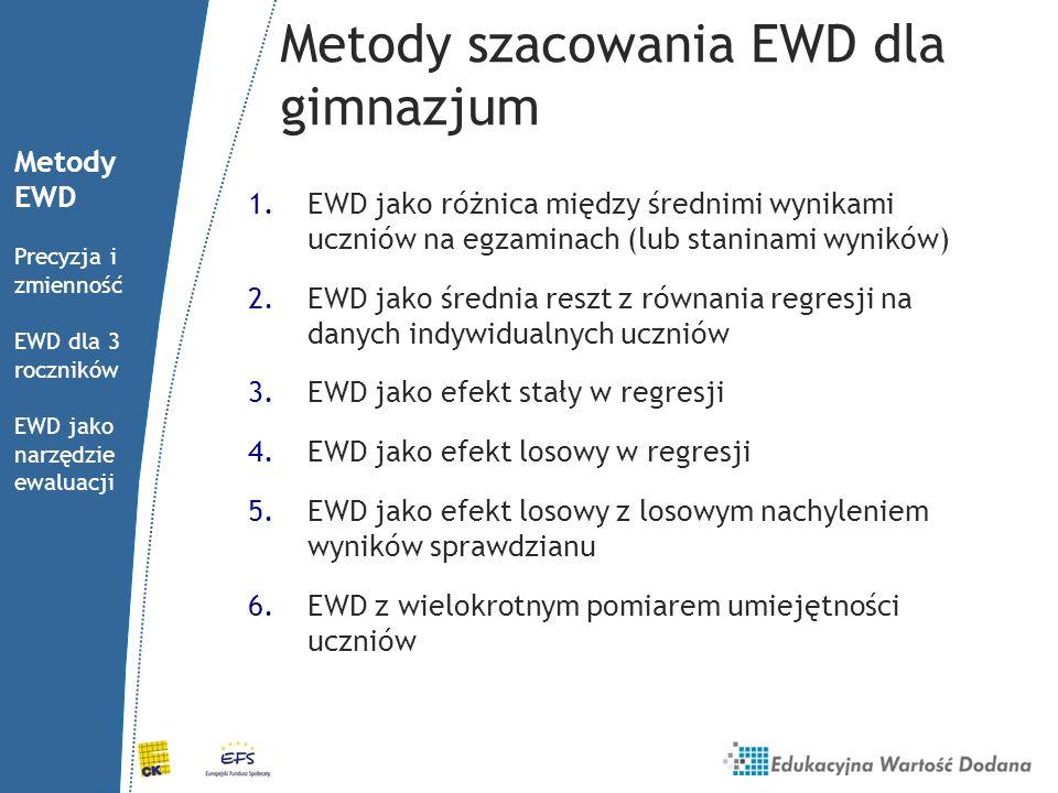 Metody szacowania EWD dla gimnazjum 1.EWD jako różnica między średnimi wynikami uczniów na egzaminach (lub staninami wyników) 2.EWD jako średnia reszt