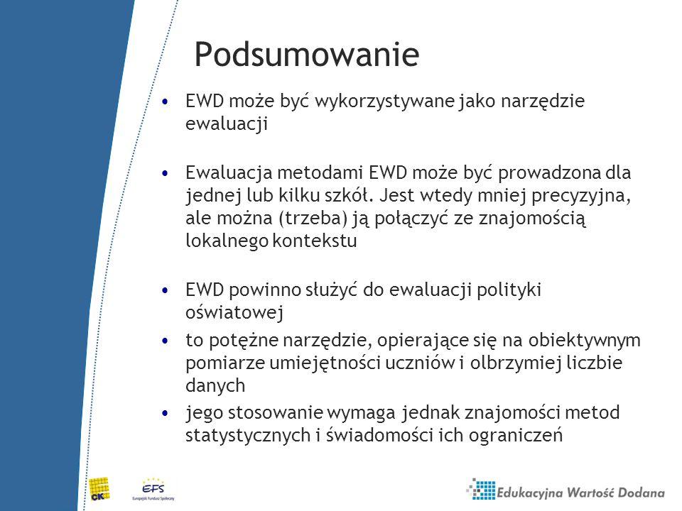 Podsumowanie EWD może być wykorzystywane jako narzędzie ewaluacji Ewaluacja metodami EWD może być prowadzona dla jednej lub kilku szkół. Jest wtedy mn
