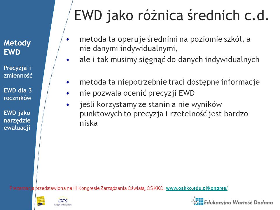 EWD jako średnia reszt szacujemy równanie regresji dla całej Polski, gdzie x to wynik ucznia na sprawdzianie, y to wynik na egzaminie gimnazjalnym, D to wektor cech indywidualnych (płeć i dysleksja), ε to błąd losowy EWD to średnia różnic między wynikiem uzyskanym a przewidywanym dla każdego ucznia Metody EWD Precyzja i zmienność EWD dla 3 roczników EWD jako narzędzie ewaluacji Prezentacja przedstawiona na III Kongresie Zarządzania Oświatą, OSKKO, www.oskko.edu.pl/kongres/www.oskko.edu.pl/kongres/