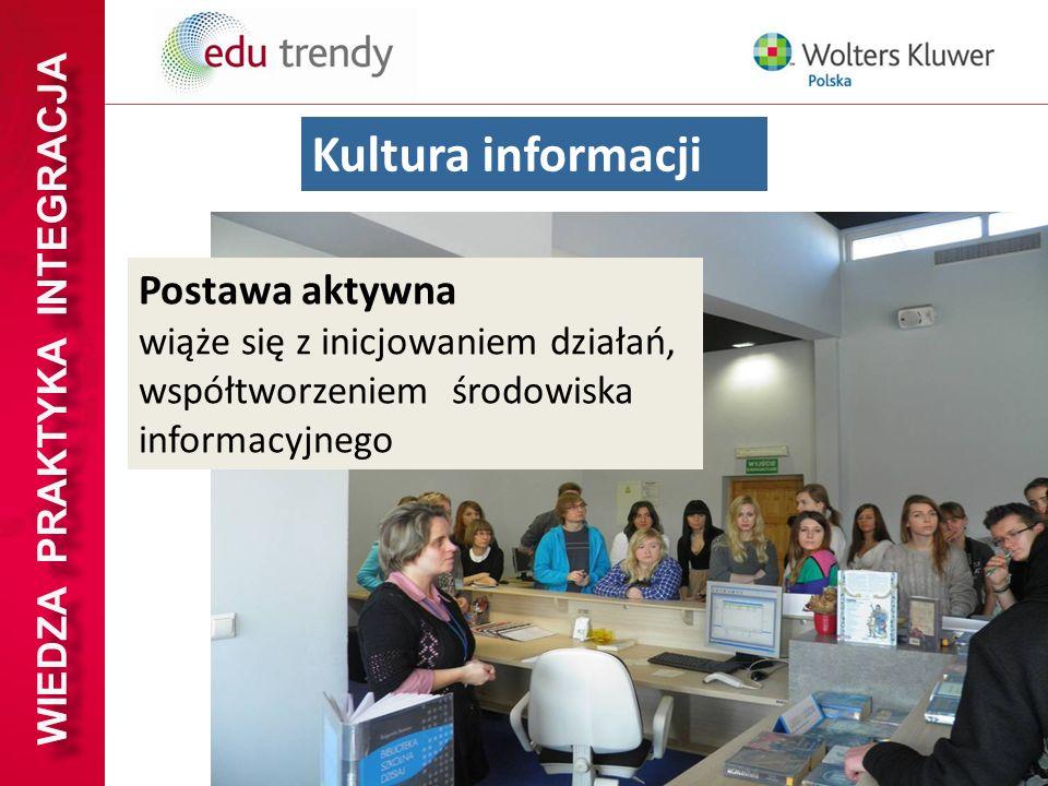 WIEDZA PRAKTYKA INTEGRACJA Kultura informacji Postawa aktywna wiąże się z inicjowaniem działań, współtworzeniem środowiska informacyjnego