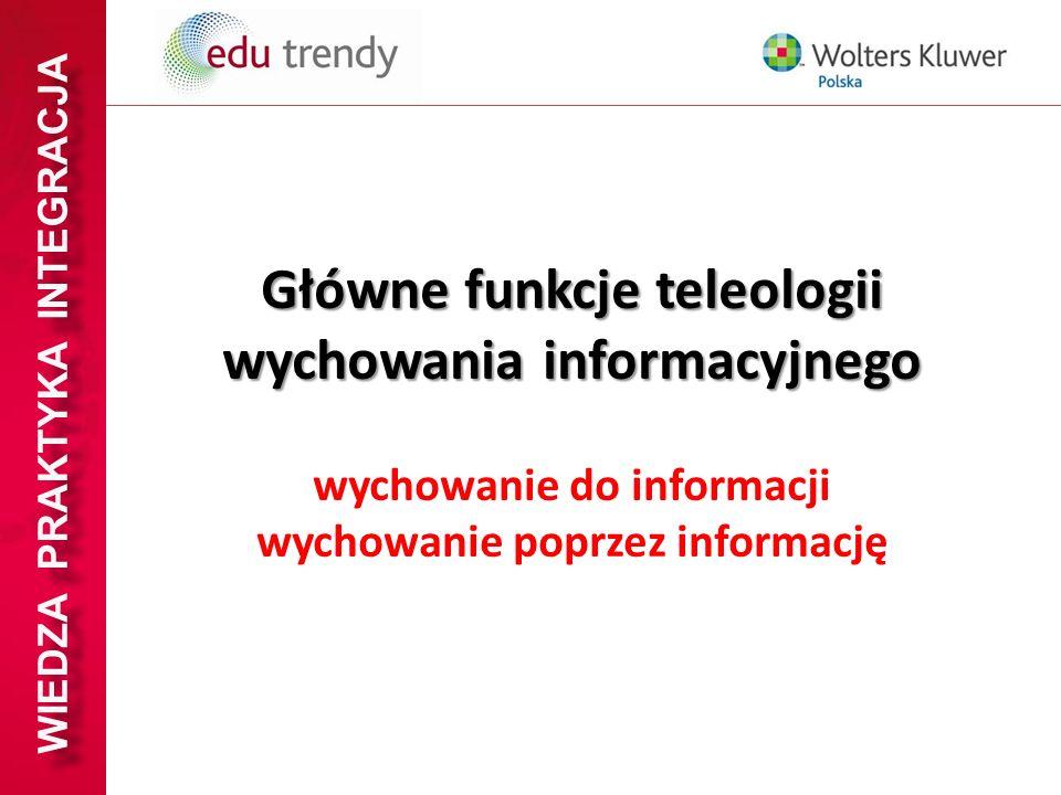 WIEDZA PRAKTYKA INTEGRACJA Główne funkcje teleologii wychowania informacyjnego wychowanie do informacji wychowanie poprzez informację