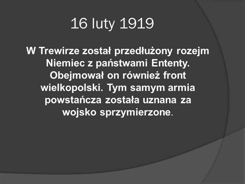 16 luty 1919 W Trewirze został przedłużony rozejm Niemiec z państwami Ententy. Obejmował on również front wielkopolski. Tym samym armia powstańcza zos