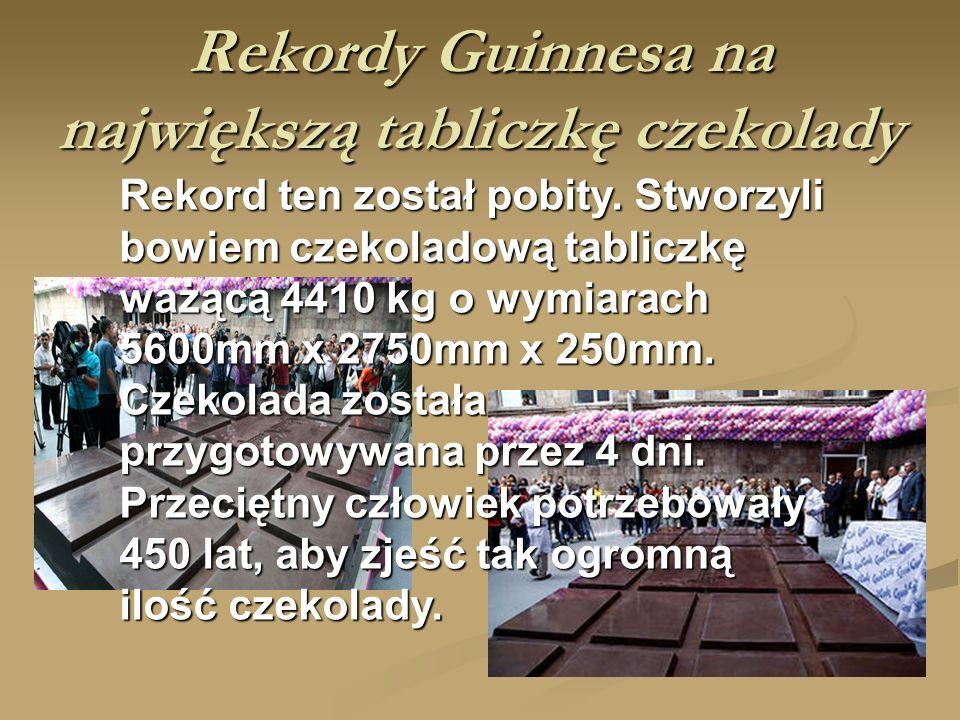 Rekordy Guinnesa na największą tabliczkę czekolady Rekord ten został pobity.