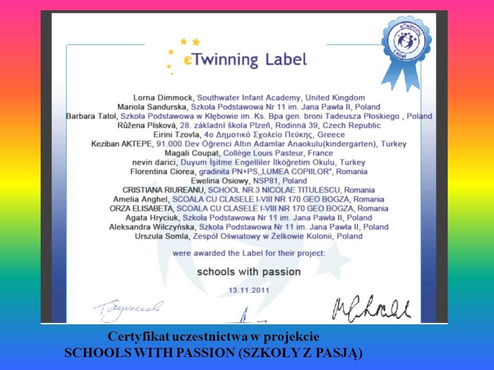Certyfikat uczestnictwa w projekcie SCHOOLS WITH PASSION (SZKOŁY Z PASJĄ)