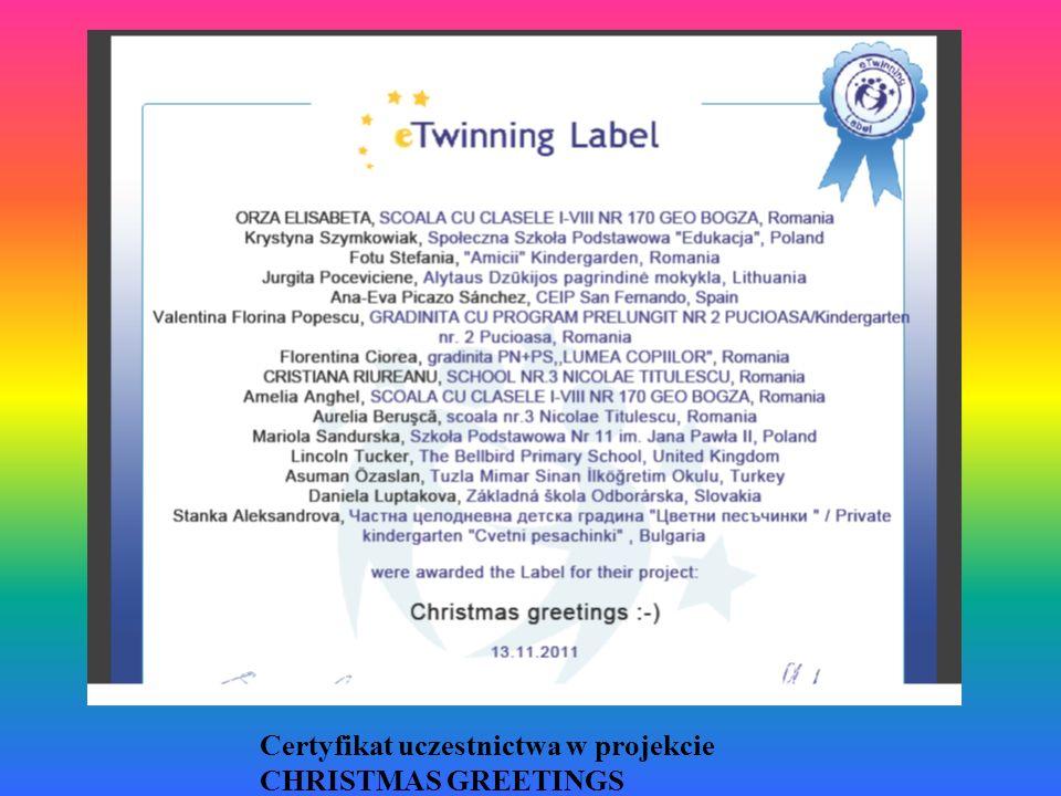 Certyfikat uczestnictwa w projekcie CHRISTMAS GREETINGS