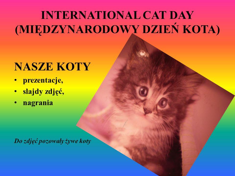 INTERNATIONAL CAT DAY (MIĘDZYNARODOWY DZIEŃ KOTA) NASZE KOTY prezentacje, slajdy zdjęć, nagrania Do zdjęć pozowały żywe koty