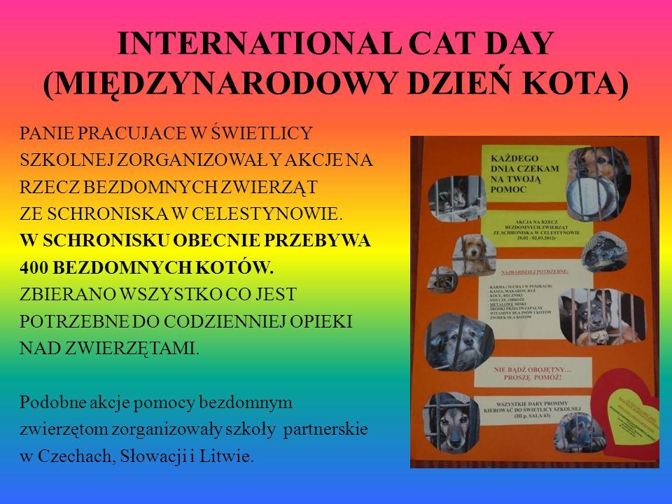 INTERNATIONAL CAT DAY (MIĘDZYNARODOWY DZIEŃ KOTA) PANIE PRACUJACE W ŚWIETLICY SZKOLNEJ ZORGANIZOWAŁY AKCJE NA RZECZ BEZDOMNYCH ZWIERZĄT ZE SCHRONISKA