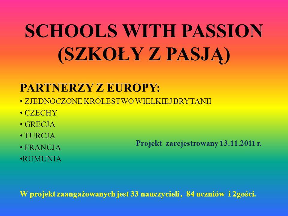 SCHOOLS WITH PASSION (SZKOŁY Z PASJĄ) PARTNERZY Z EUROPY: ZJEDNOCZONE KRÓLESTWO WIELKIEJ BRYTANII CZECHY GRECJA TURCJA FRANCJA RUMUNIA Projekt zarejes