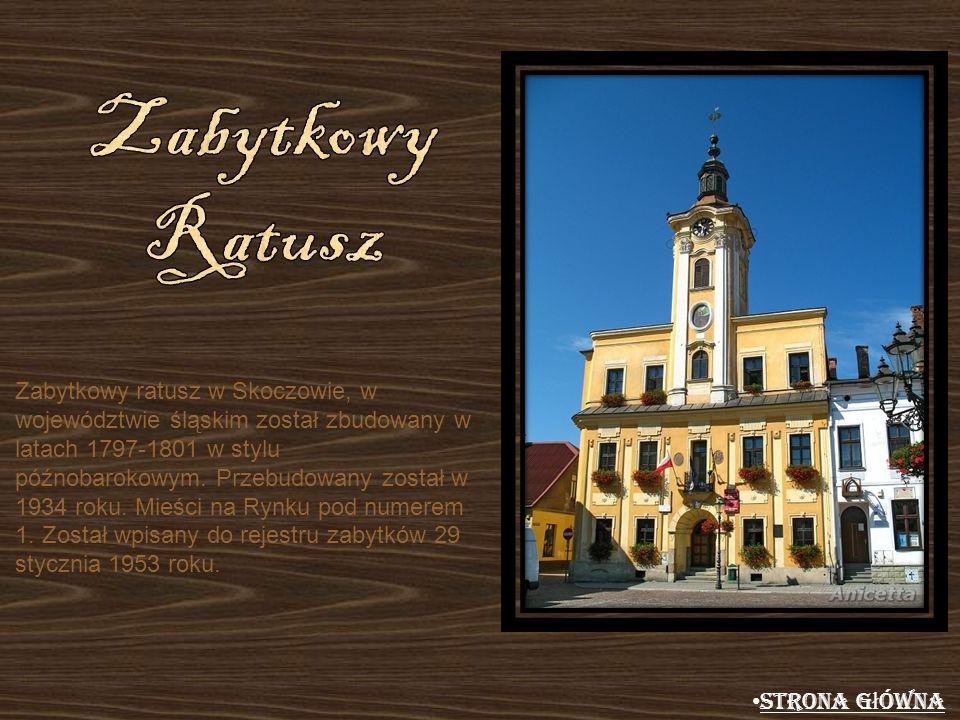 Zabytkowy ratusz w Skoczowie, w województwie śląskim został zbudowany w latach 1797-1801 w stylu późnobarokowym. Przebudowany został w 1934 roku. Mieś