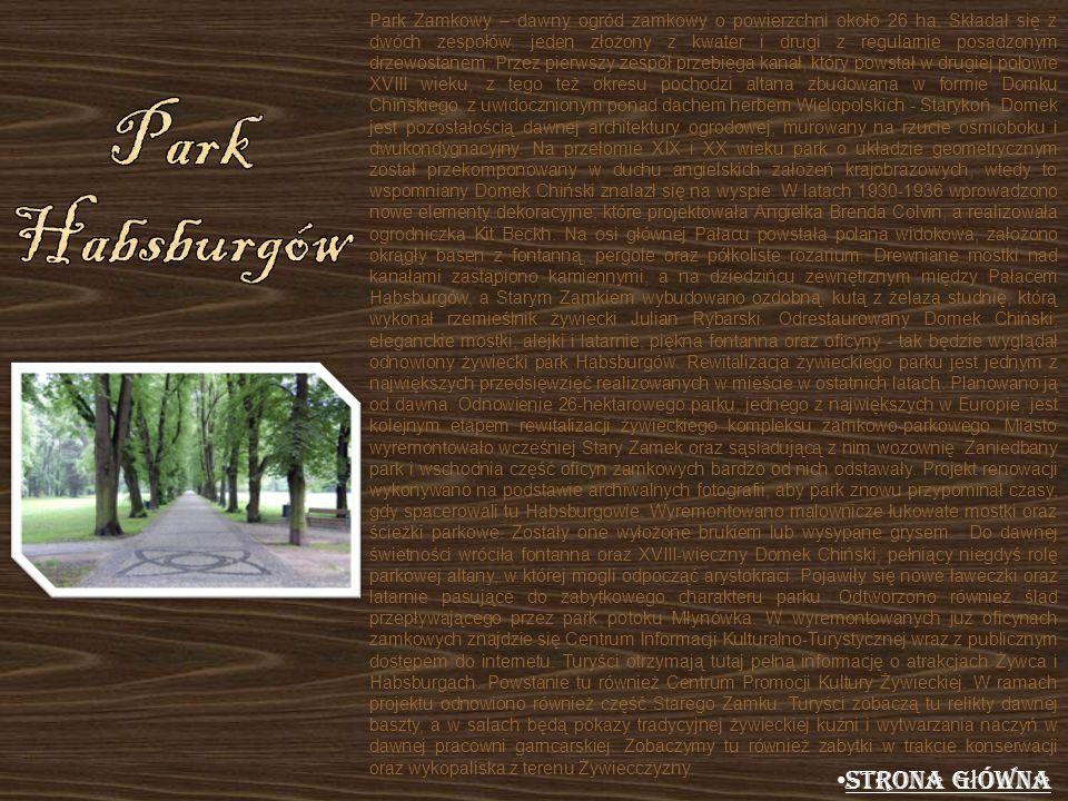 Park Zamkowy – dawny ogród zamkowy o powierzchni około 26 ha. Składał się z dwóch zespołów, jeden złożony z kwater i drugi z regularnie posadzonym drz