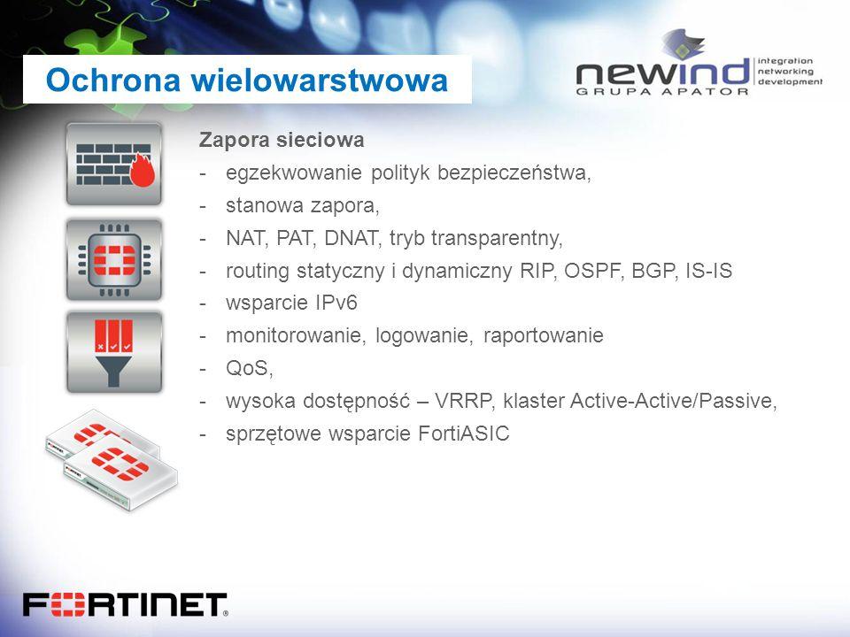 Ochrona wielowarstwowa Zapora sieciowa -egzekwowanie polityk bezpieczeństwa, -stanowa zapora, -NAT, PAT, DNAT, tryb transparentny, -routing statyczny