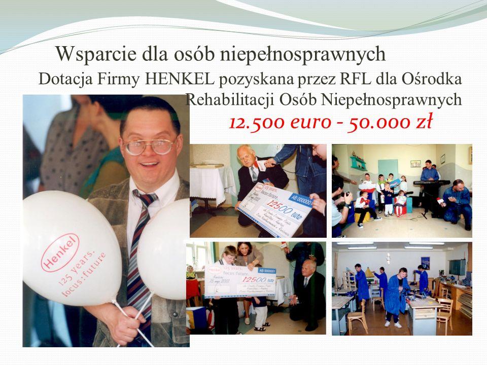 12.500 euro - 50.000 zł Dotacja Firmy HENKEL pozyskana przez RFL dla Ośrodka Rehabilitacji Osób Niepełnosprawnych Wsparcie dla osób niepełnosprawnych