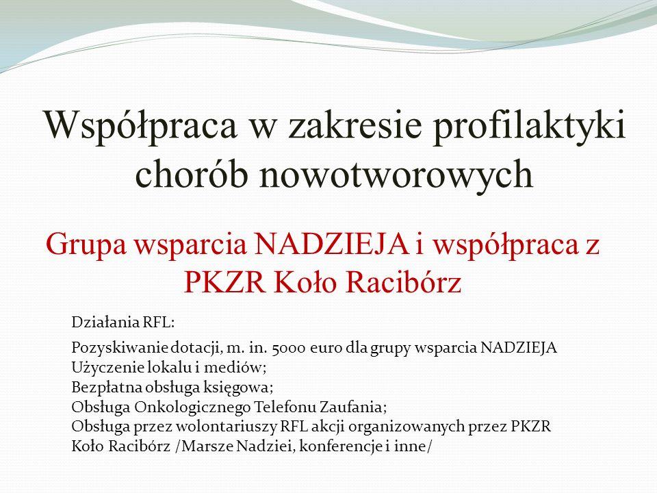 Współpraca w zakresie profilaktyki chorób nowotworowych Działania RFL: Pozyskiwanie dotacji, m.