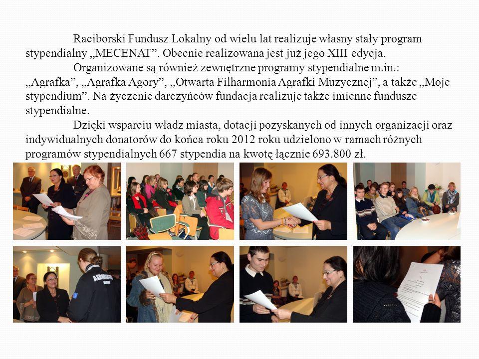 Raciborski Fundusz Lokalny od wielu lat realizuje własny stały program stypendialny MECENAT.