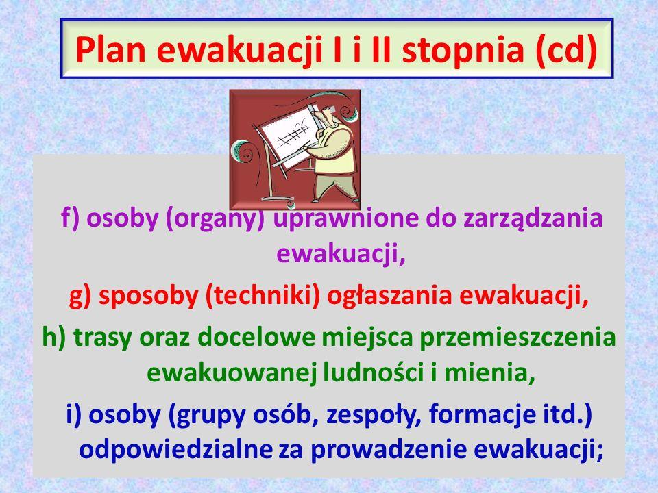 Plan ewakuacji I i II stopnia (cd) f) osoby (organy) uprawnione do zarządzania ewakuacji, g) sposoby (techniki) ogłaszania ewakuacji, h) trasy oraz do