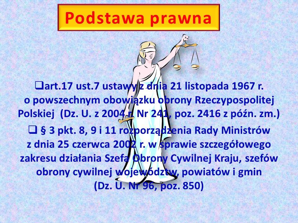 Podstawa prawna art.17 ust.7 ustawy z dnia 21 listopada 1967 r. o powszechnym obowiązku obrony Rzeczypospolitej Polskiej (Dz. U. z 2004 r. Nr 241, poz