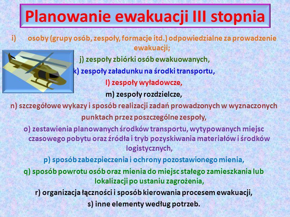 Planowanie ewakuacji III stopnia i)osoby (grupy osób, zespoły, formacje itd.) odpowiedzialne za prowadzenie ewakuacji; j) zespoły zbiórki osób ewakuow