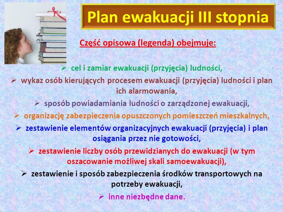 Plan ewakuacji III stopnia Część opisowa (legenda) obejmuje: cel i zamiar ewakuacji (przyjęcia) ludności, wykaz osób kierujących procesem ewakuacji (p