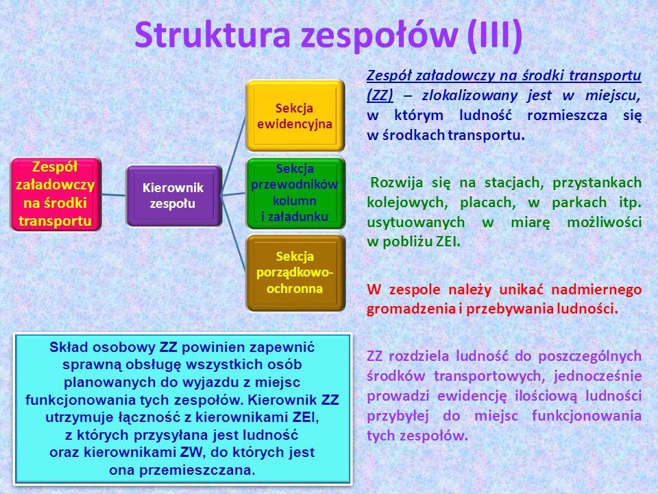 Struktura zespołów (III) Zespół załadowczy na środki transportu Kierownik zespołu Sekcja ewidencyjna Sekcja przewodników kolumn i załadunku Sekcja por