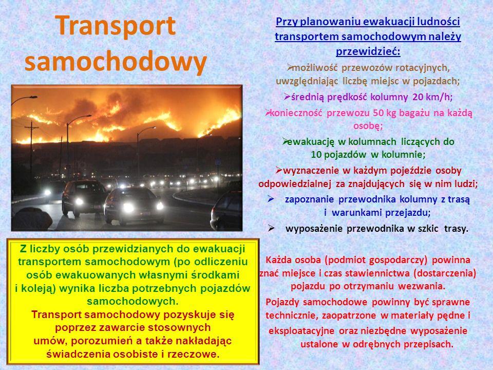 Transport samochodowy Przy planowaniu ewakuacji ludności transportem samochodowym należy przewidzieć: możliwość przewozów rotacyjnych, uwzględniając l