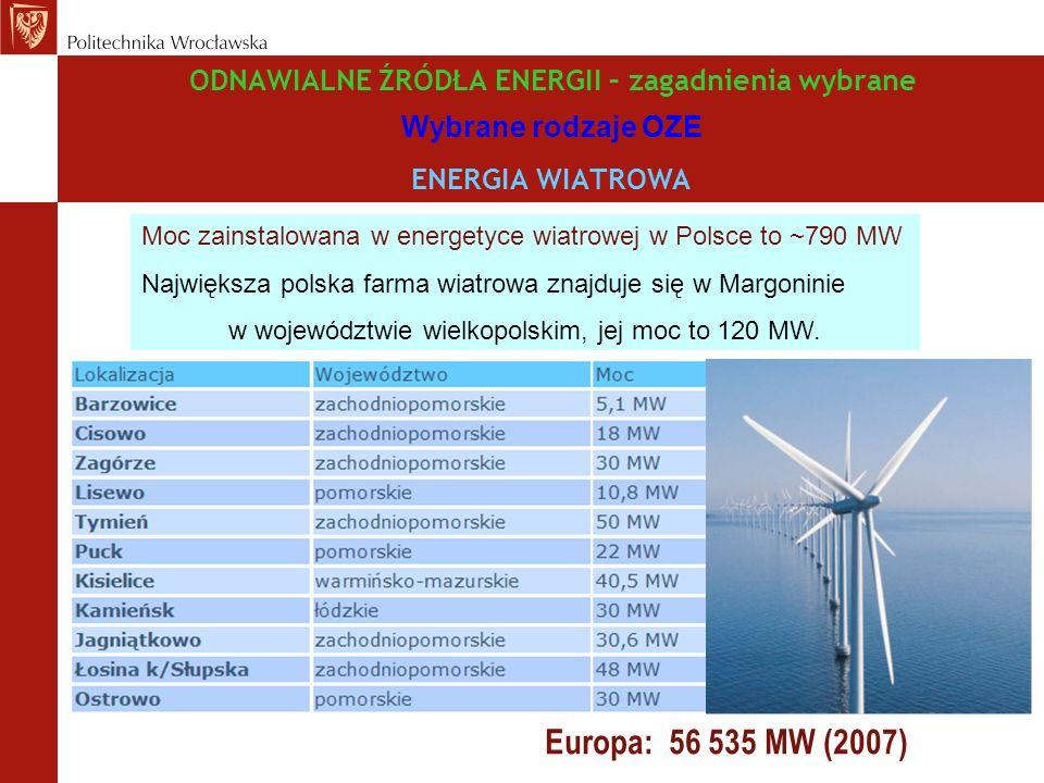 ODNAWIALNE ŹRÓDŁA ENERGII – zagadnienia wybrane Wybrane rodzaje OZE ENERGIA WIATROWA Moc zainstalowana w energetyce wiatrowej w Polsce to ~790 MW Największa polska farma wiatrowa znajduje się w Margoninie w województwie wielkopolskim, jej moc to 120 MW.