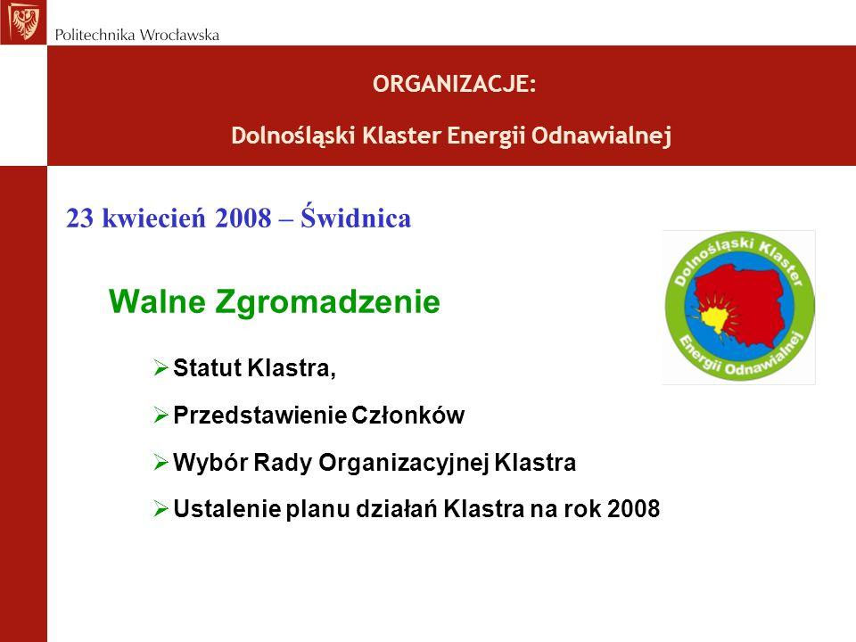 ORGANIZACJE: Dolnośląski Klaster Energii Odnawialnej 23 kwiecień 2008 – Świdnica Walne Zgromadzenie Statut Klastra, Przedstawienie Członków Wybór Rady Organizacyjnej Klastra Ustalenie planu działań Klastra na rok 2008