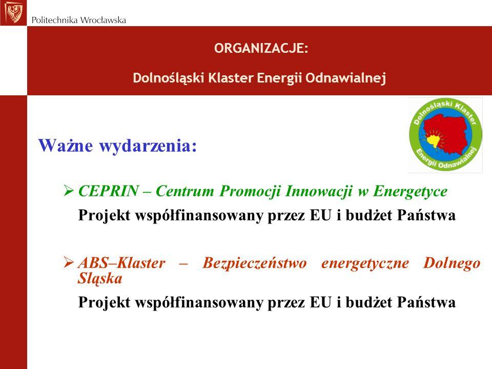 ORGANIZACJE: Dolnośląski Klaster Energii Odnawialnej Ważne wydarzenia: CEPRIN – Centrum Promocji Innowacji w Energetyce Projekt współfinansowany przez EU i budżet Państwa ABS–Klaster – Bezpieczeństwo energetyczne Dolnego Sląska Projekt współfinansowany przez EU i budżet Państwa