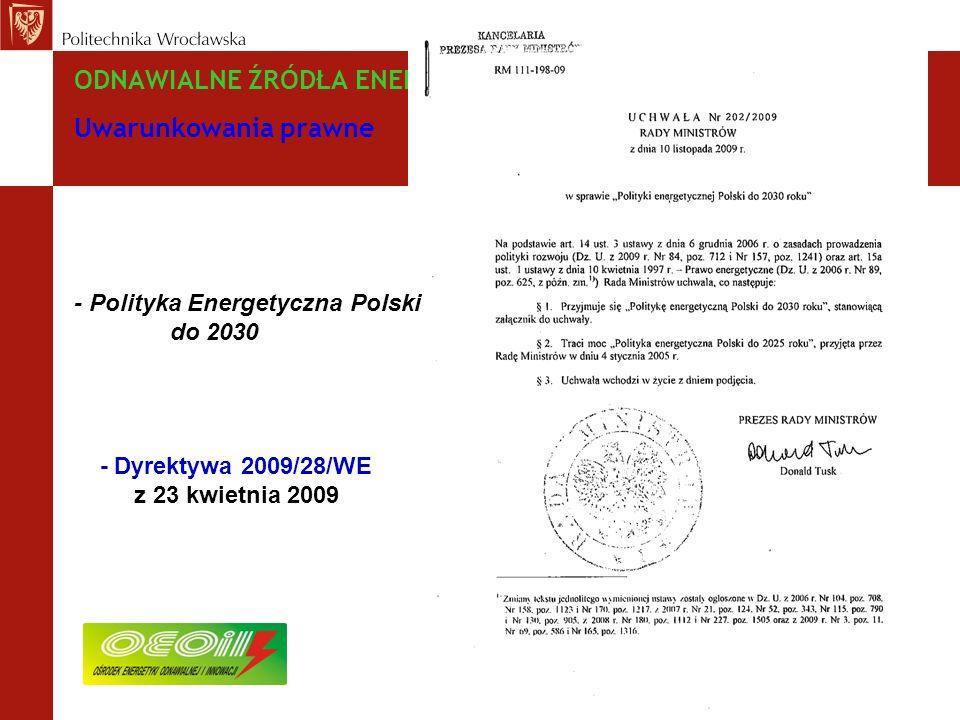 ODNAWIALNE ŹRÓDŁA ENERGII – zagadnienia wybrane Uwarunkowania prawne - Polityka Energetyczna Polski do 2030 - Dyrektywa 2009/28/WE z 23 kwietnia 2009