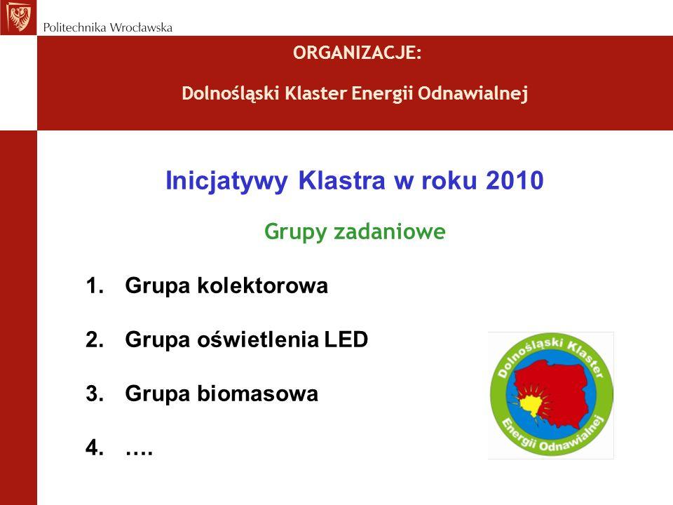 ORGANIZACJE: Dolnośląski Klaster Energii Odnawialnej Inicjatywy Klastra w roku 2010 Grupy zadaniowe 1.Grupa kolektorowa 2.Grupa oświetlenia LED 3.Grupa biomasowa 4.….