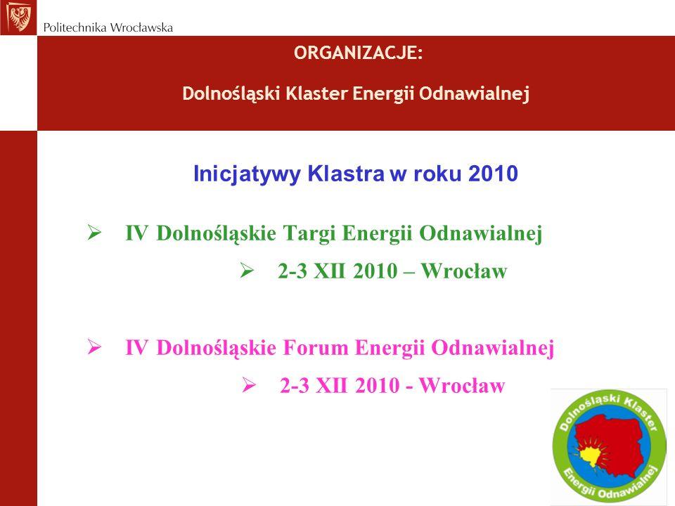 ORGANIZACJE: Dolnośląski Klaster Energii Odnawialnej Inicjatywy Klastra w roku 2010 IV Dolnośląskie Targi Energii Odnawialnej 2-3 XII 2010 – Wrocław IV Dolnośląskie Forum Energii Odnawialnej 2-3 XII 2010 - Wrocław