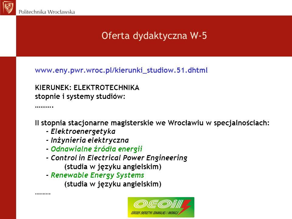Oferta dydaktyczna W-5 www.eny.pwr.wroc.pl/kierunki_studiow.51.dhtml KIERUNEK: ELEKTROTECHNIKA stopnie i systemy studiów: ……….