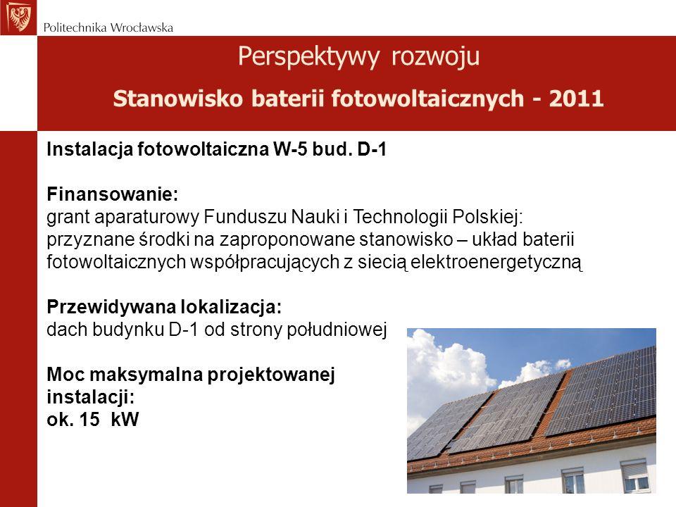 Perspektywy rozwoju Stanowisko baterii fotowoltaicznych - 2011 Instalacja fotowoltaiczna W-5 bud.