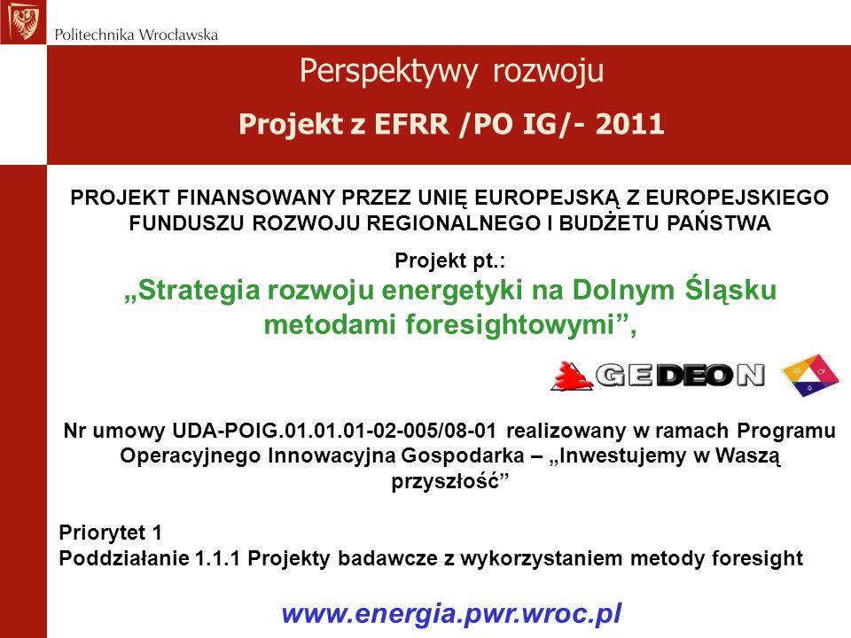 Perspektywy rozwoju Projekt z EFRR /PO IG/- 2011 PROJEKT FINANSOWANY PRZEZ UNIĘ EUROPEJSKĄ Z EUROPEJSKIEGO FUNDUSZU ROZWOJU REGIONALNEGO I BUDŻETU PAŃSTWA Projekt pt.: Strategia rozwoju energetyki na Dolnym Śląsku metodami foresightowymi, Nr umowy UDA-POIG.01.01.01-02-005/08-01 realizowany w ramach Programu Operacyjnego Innowacyjna Gospodarka – Inwestujemy w Waszą przyszłość Priorytet 1 Poddziałanie 1.1.1 Projekty badawcze z wykorzystaniem metody foresight www.energia.pwr.wroc.pl