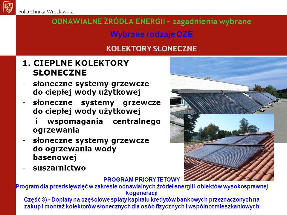 ODNAWIALNE ŹRÓDŁA ENERGII – zagadnienia wybrane Wybrane rodzaje OZE KOLEKTORY SŁONECZNE 1.