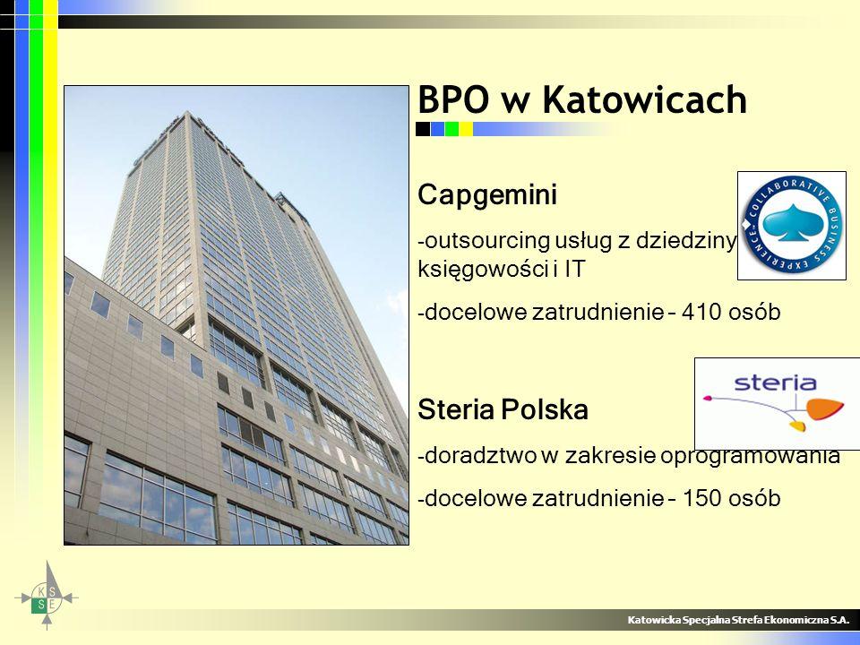 Capgemini - outsourcing usług z dziedziny księgowości i IT - docelowe zatrudnienie – 410 osób Steria Polska - doradztwo w zakresie oprogramowania - do
