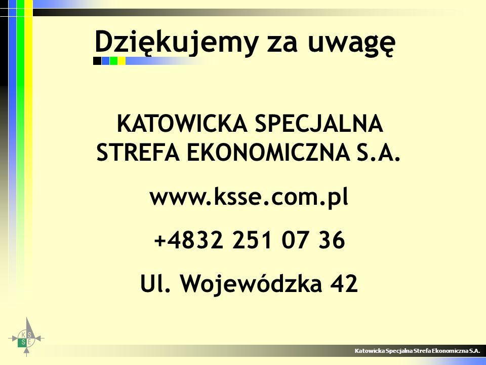 Dziękujemy za uwagę Katowicka Specjalna Strefa Ekonomiczna S.A. KATOWICKA SPECJALNA STREFA EKONOMICZNA S.A. www.ksse.com.pl +4832 251 07 36 Ul. Wojewó