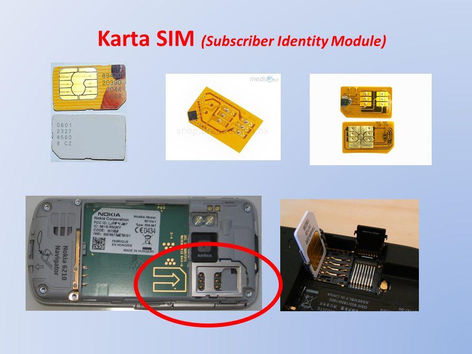 Funkcje karty SIM w telefonie = klucz dostępu do sieci komórkowej = identyfikacja operatora, numeru i użytkownika telefonu = autoryzacja użytkownika telefonu = pamięć z książką kontaktów (numerów) = ochrona przed nieuprawnionym dostępem (kod PIN) = awaryjne odblokowanie telefonu (kody PUK i PUK2) = blokada dostępu dla innego operatora (SIMLOCK) = pamięć ilości połączeń (PREPAID) = pamięć SMSów = pamięć ustawień telefonu = szyfrowanie informacji = pamiętanie charakterystyki własnej SIM = inne usługi dodane (opcjonalne) KARTA SIM IDENTYFIKUJE SIEĆ I UŻYTKOWNIKA, A NIE TELEFON !!!