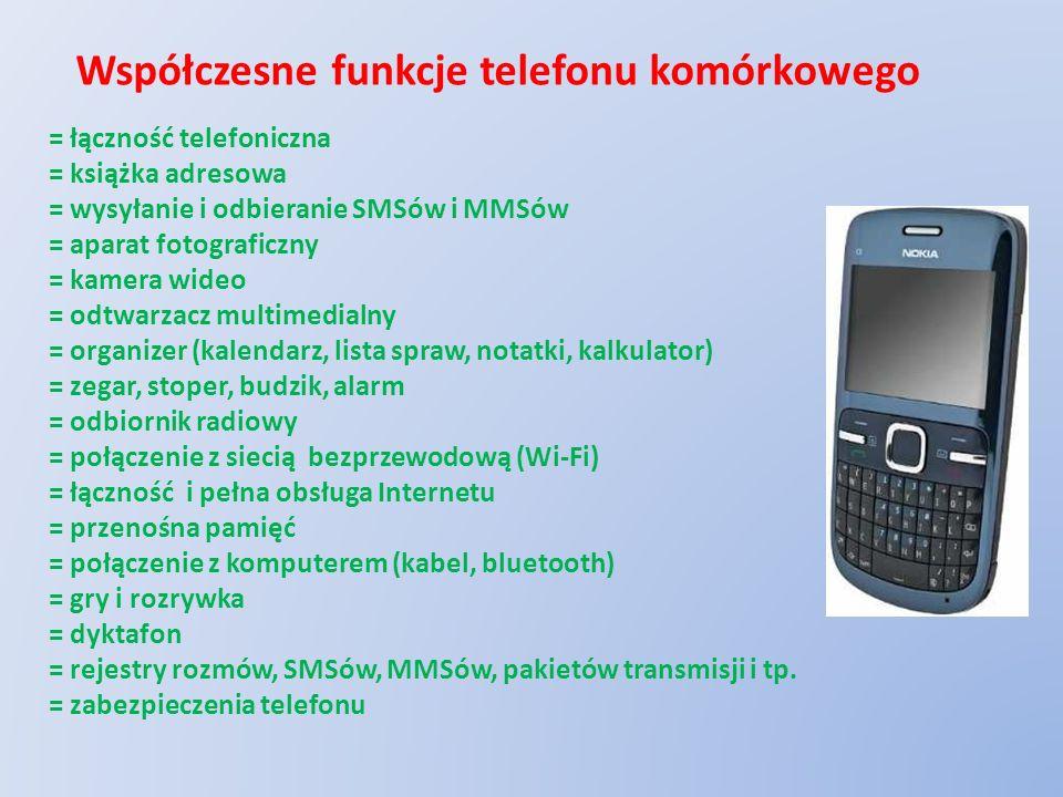 Współczesne funkcje telefonu komórkowego = łączność telefoniczna = książka adresowa = wysyłanie i odbieranie SMSów i MMSów = aparat fotograficzny = ka