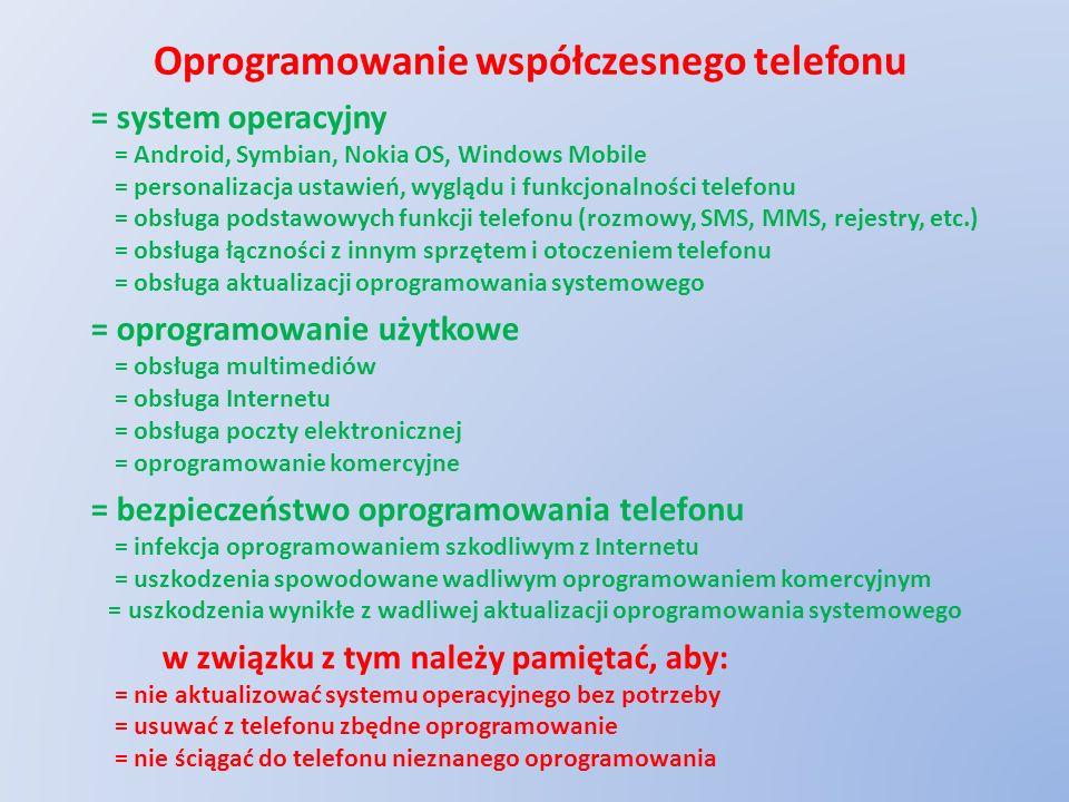 Oprogramowanie współczesnego telefonu = system operacyjny = Android, Symbian, Nokia OS, Windows Mobile = personalizacja ustawień, wyglądu i funkcjonal