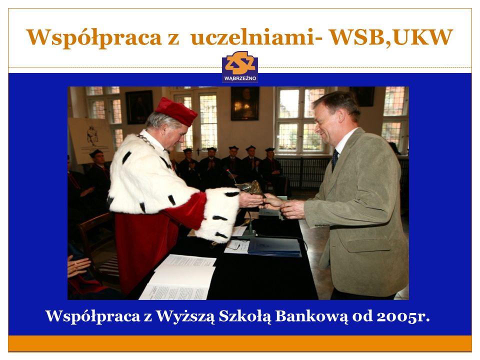 Współpraca z uczelniami- WSB,UKW Współpraca z Wyższą Szkołą Bankową 0d 2005r.