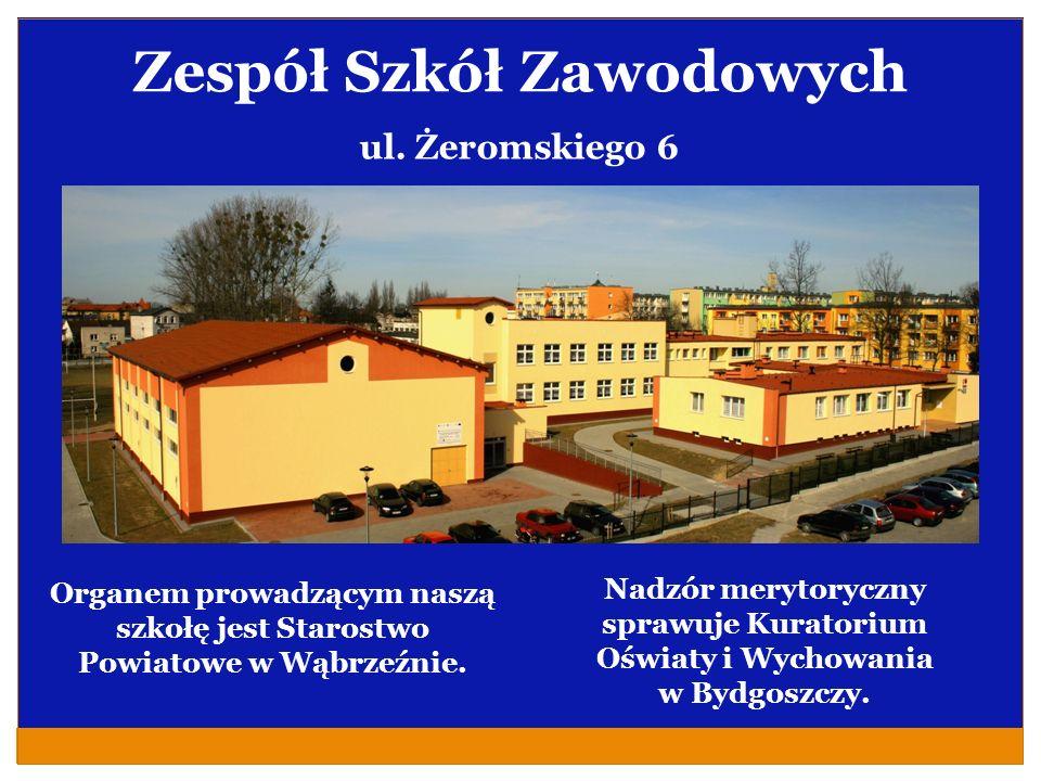 Zespół Szkół Zawodowych Organem prowadzącym naszą szkołę jest Starostwo Powiatowe w Wąbrzeźnie. ul. Żeromskiego 6 Nadzór merytoryczny sprawuje Kurator