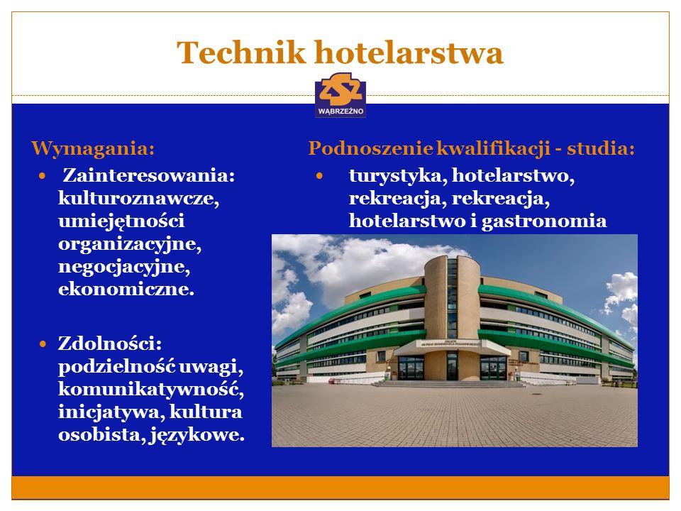 Technik hotelarstwa Wymagania: Zainteresowania: kulturoznawcze, umiejętności organizacyjne, negocjacyjne, ekonomiczne. Zdolności: podzielność uwagi, k