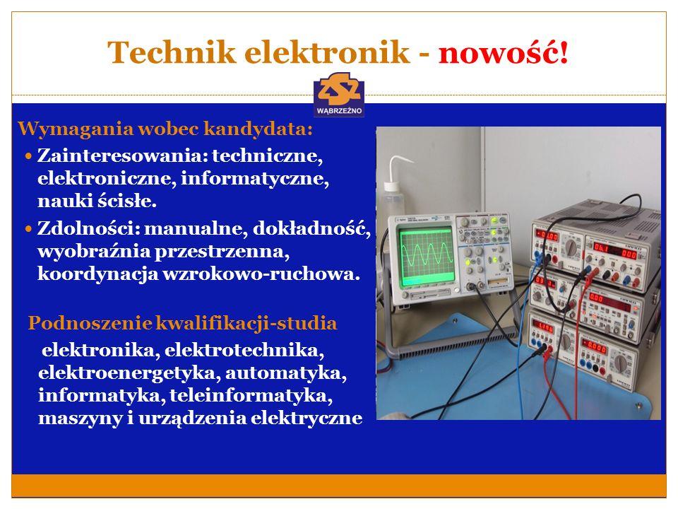 Technik elektronik - nowość! Wymagania wobec kandydata: Zainteresowania: techniczne, elektroniczne, informatyczne, nauki ścisłe. Zdolności: manualne,